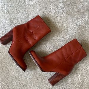 San Edelman Red Leather Booties